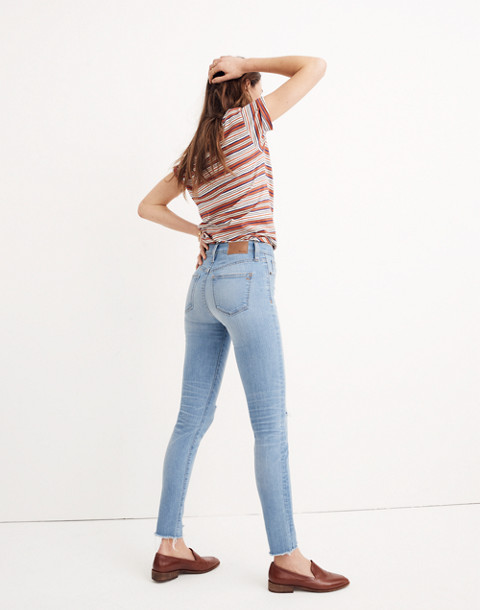 "9"" High-Rise Skinny Jeans in Ontario Wash: Distressed-Hem Edition in ontario wash image 2"