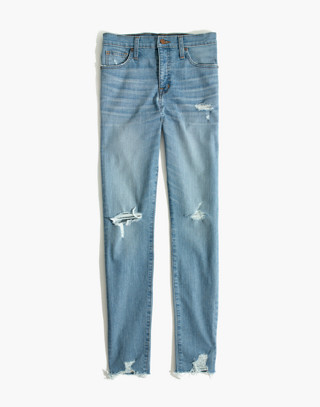 "9"" High-Rise Skinny Jeans in Ontario Wash: Distressed-Hem Edition in ontario wash image 4"