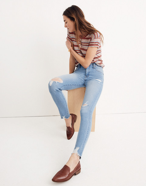 "9"" High-Rise Skinny Jeans in Ontario Wash: Distressed-Hem Edition in ontario wash image 1"