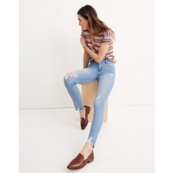 "Taller 9"" High-Rise Skinny Jeans in Ontario Wash: Distressed-Hem Edition"