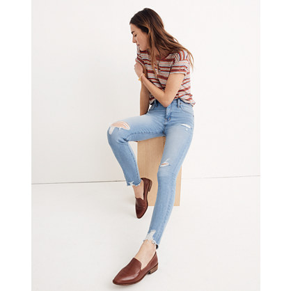 "Short 9"" High-Rise Skinny Jeans in Ontario Wash: Distressed-Hem Edition"