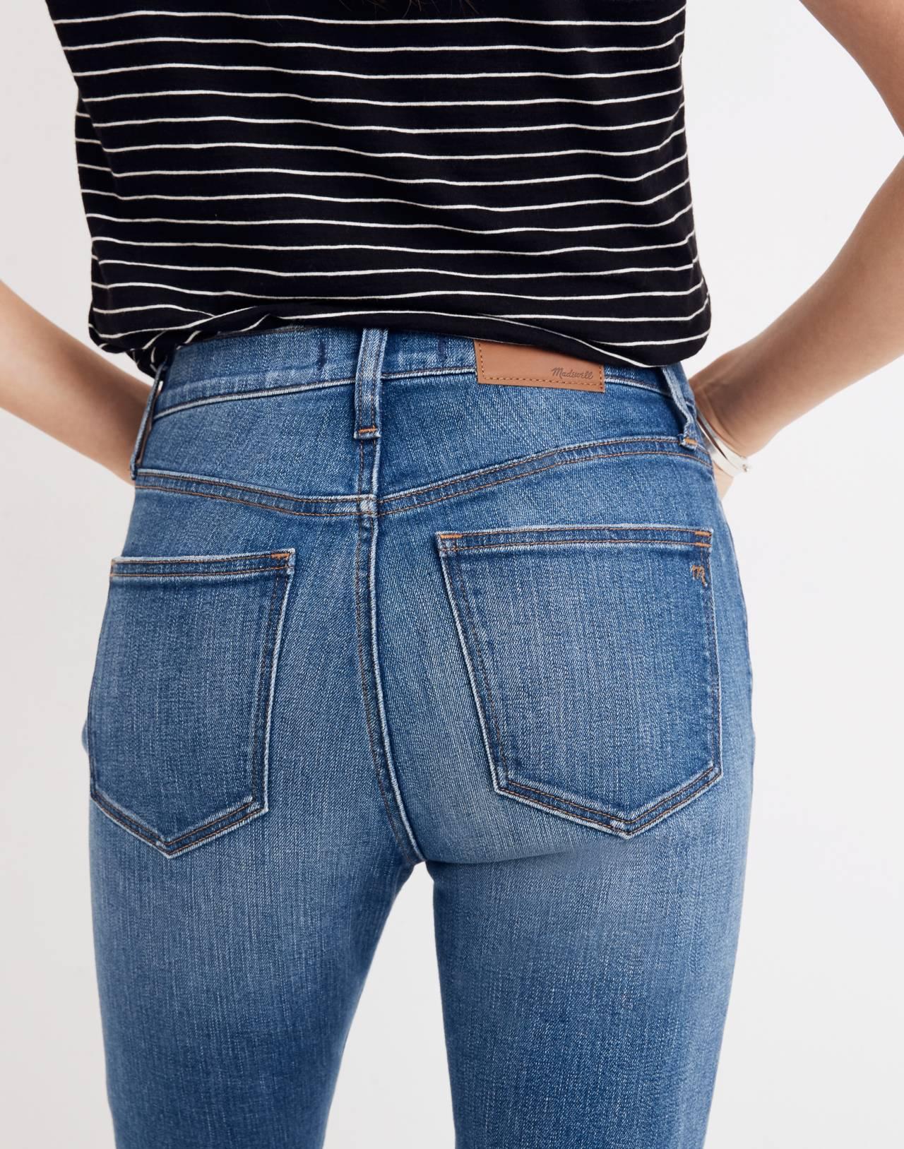"9"" High-Rise Skinny Crop Jeans: Destructed-Hem Edition in miranda wash image 3"