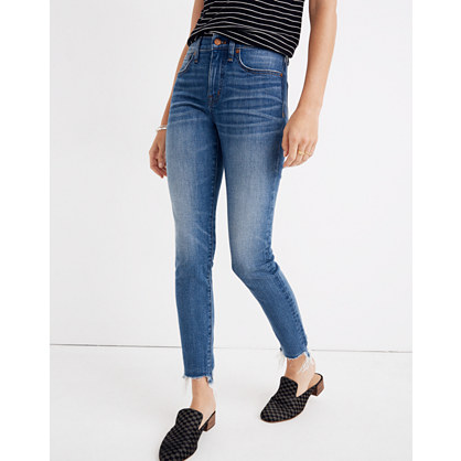 "9"" High-Rise Skinny Crop Jeans: Destructed-Hem Edition"