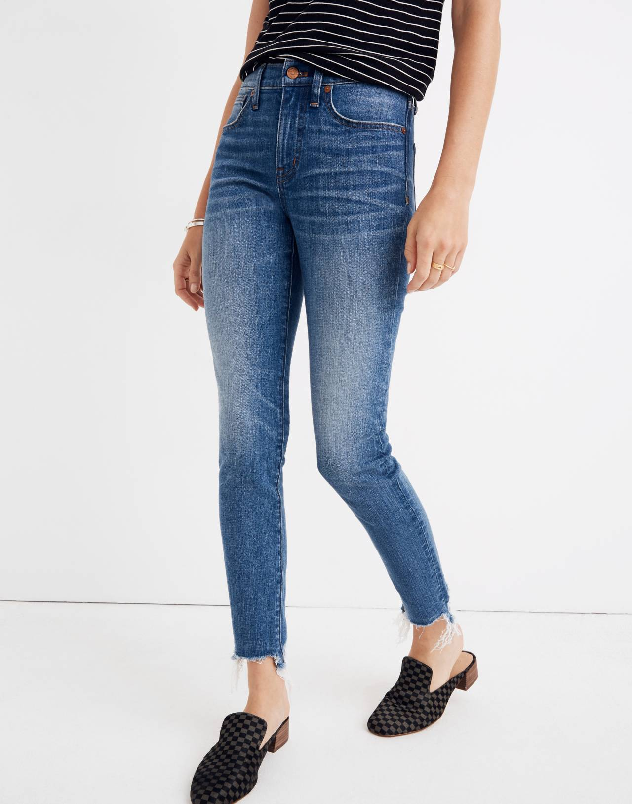 "9"" High-Rise Skinny Crop Jeans: Destructed-Hem Edition in miranda wash image 1"