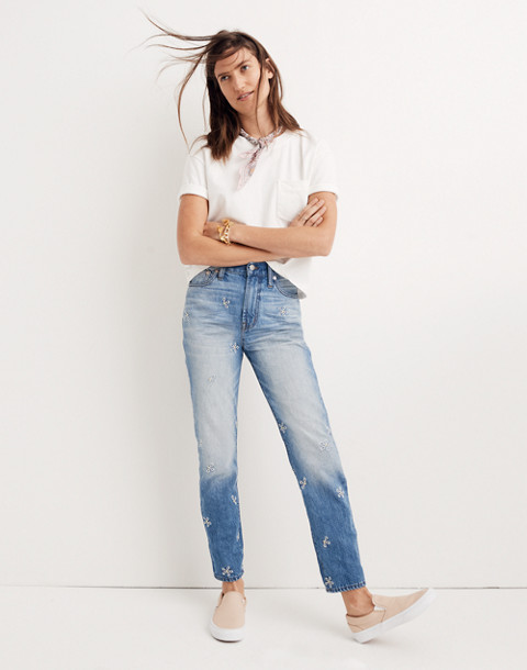 The Tall Perfect Summer Jean: Daisy Embroidered Edition in wendell wash image 2