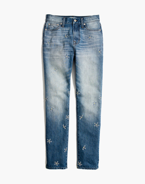 The Tall Perfect Summer Jean: Daisy Embroidered Edition in wendell wash image 4