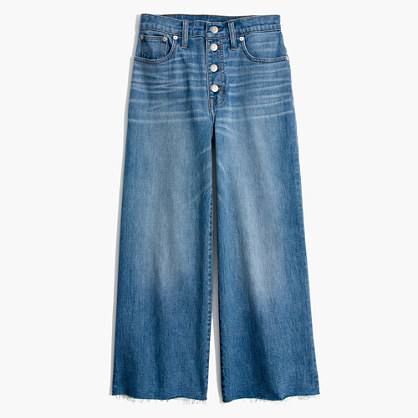 Tall Wide-Leg Crop Jeans: Button-Front Edition