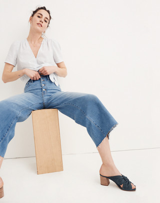 Wide-Leg Crop Jeans: Button-Front Edition in martina wash image 2