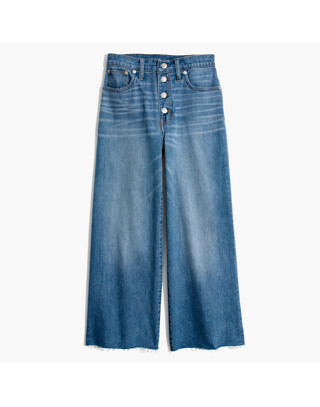 Wide-Leg Crop Jeans: Button-Front Edition in martina wash image 4