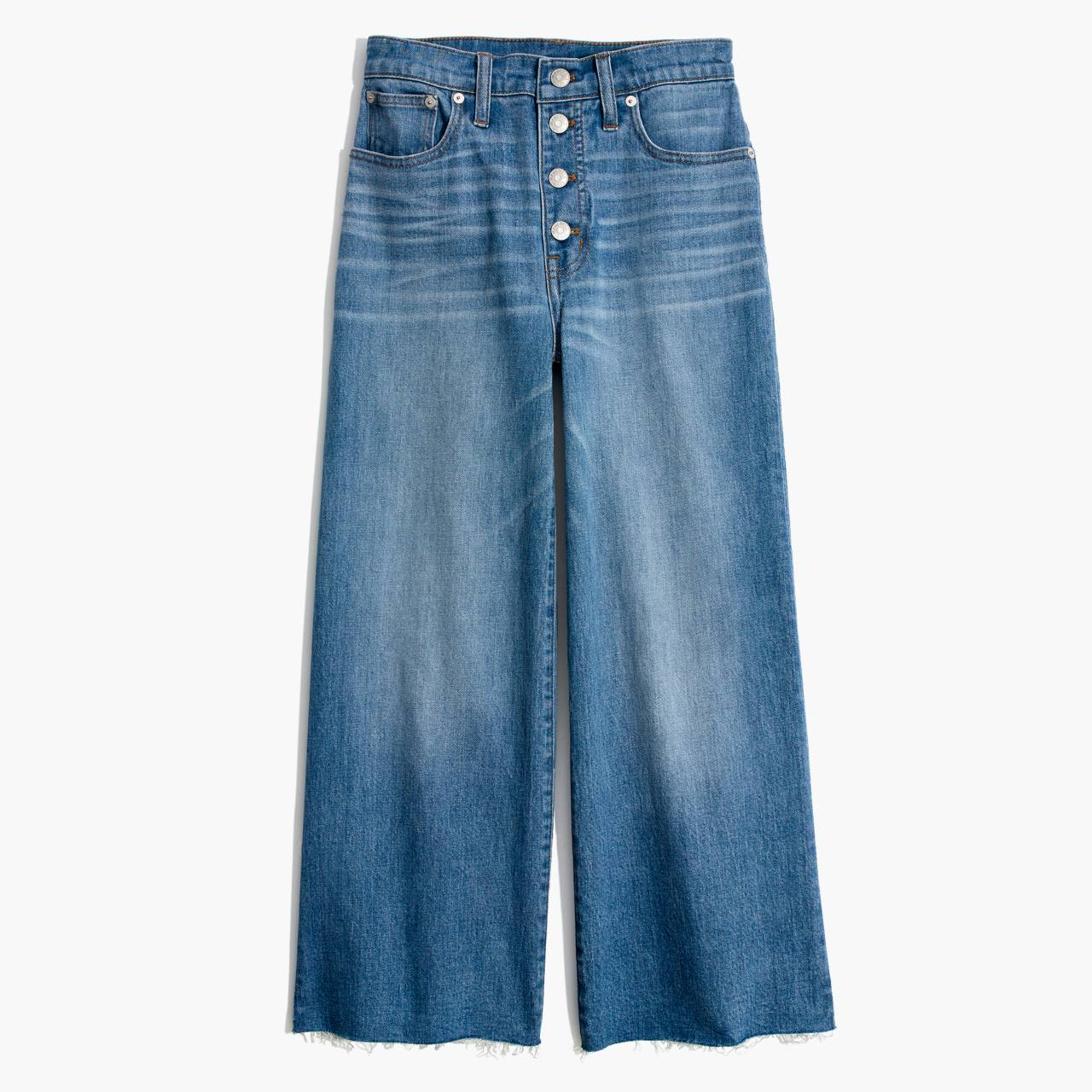 Tall Wide-Leg Crop Jeans: Button-Front Edition in martina wash image 4