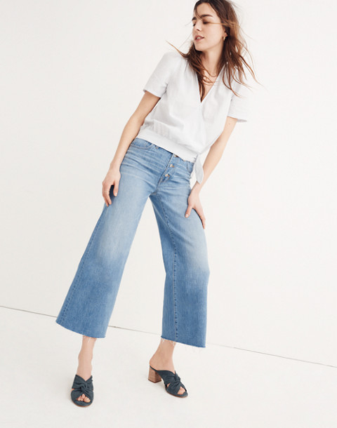Wide-Leg Crop Jeans: Button-Front Edition in martina wash image 1
