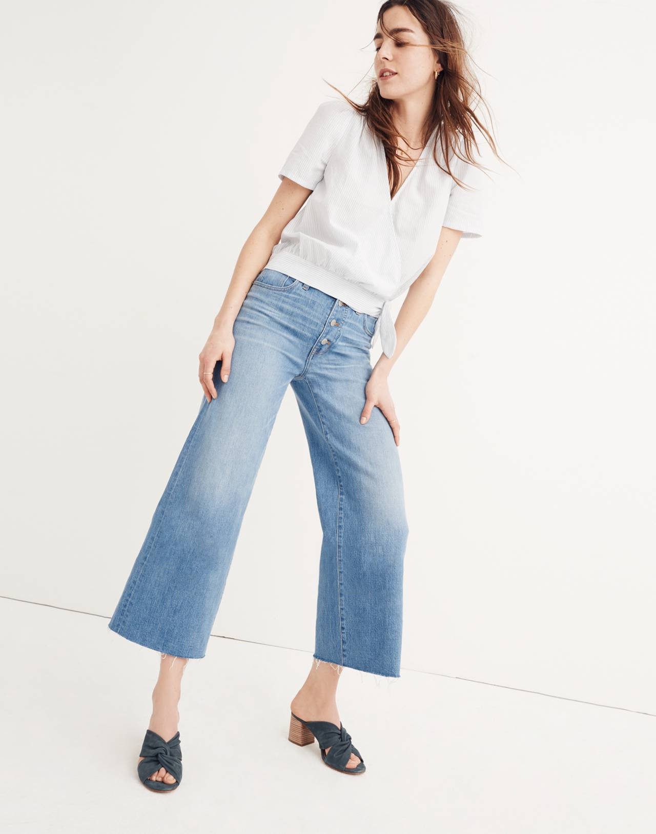 Tall Wide-Leg Crop Jeans: Button-Front Edition in martina wash image 1