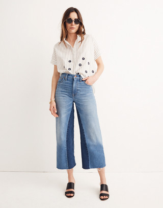 Tall Wide-Leg Crop Jeans: Gusset Edition in jerry wash image 1