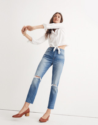 The High-Rise Slim Crop Boyjean: Knee-Rip Edition