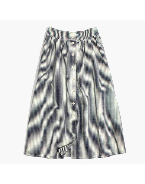 Palisade Button-Front Midi Skirt in Chambray Stripe in chambray stripe image 4