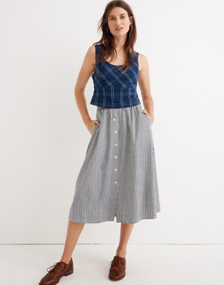 Palisade Button-Front Midi Skirt in Chambray Stripe