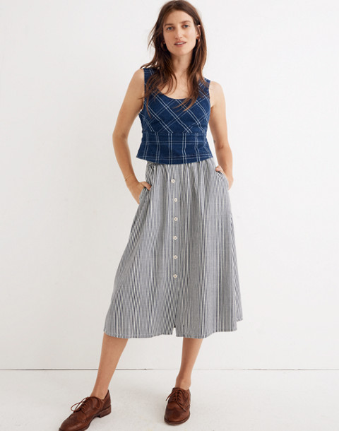 Palisade Button-Front Midi Skirt in Chambray Stripe in chambray stripe image 1