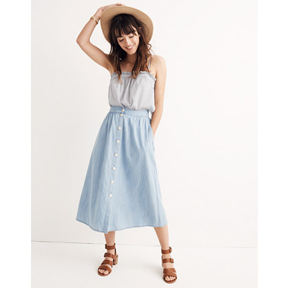 Palisade Button-Front Midi Skirt in Indigo