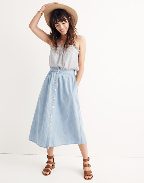9f2526cd79 Palisade Button-Front Midi Skirt in Indigo in null image 1