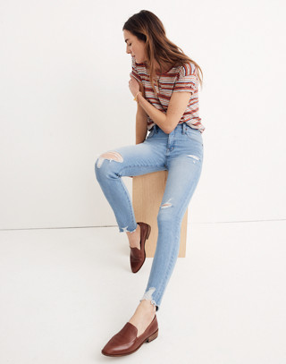 """Petite 9"""" High-Rise Skinny Jeans in Ontario Wash: Distressed-Hem Edition"""