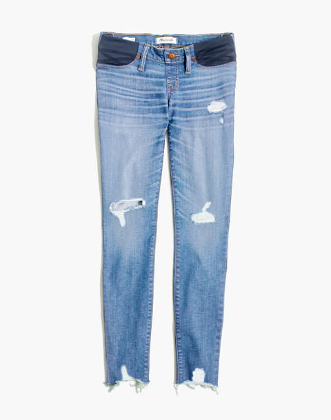 Maternity Skinny Jeans: Knee-Rip Edition in ontario wash image 4