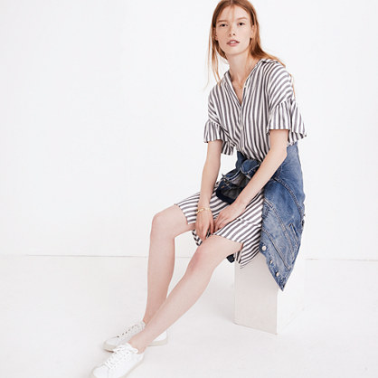 Striped Courier Ruffle-Sleeve Shirtdress
