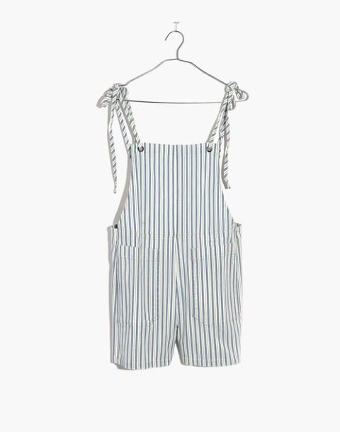 Denim Tie-Strap Short Overalls in kathy stripe image 4