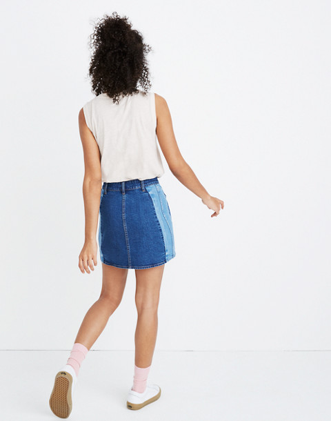 Stretch Denim Straight Mini Skirt: Pieced Edition in lorena wash image 2