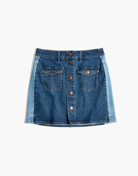 Stretch Denim Straight Mini Skirt: Pieced Edition in lorena wash image 4