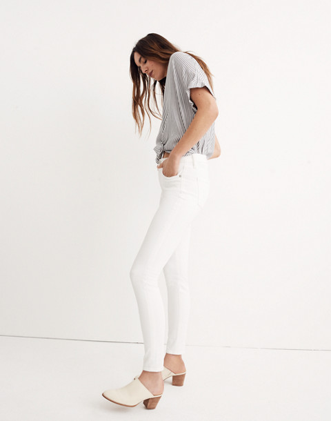 "Petite 9"" High-Rise Skinny Jeans in Pure White"