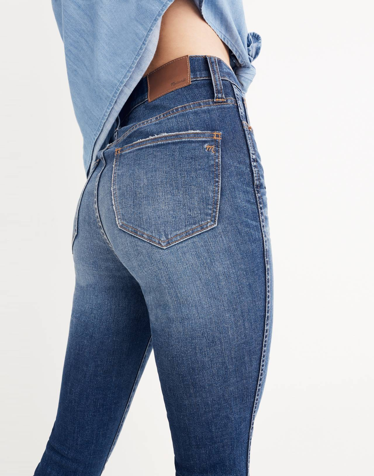 """10"""" High-Rise Skinny Jeans: Drop-Hem Edition in rosecliff wash image 3"""