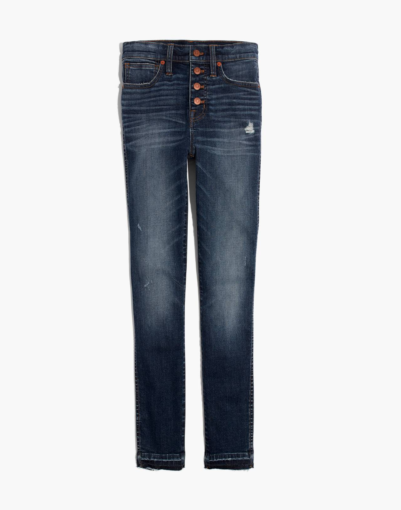 """10"""" High-Rise Skinny Jeans: Drop-Hem Edition in rosecliff wash image 4"""