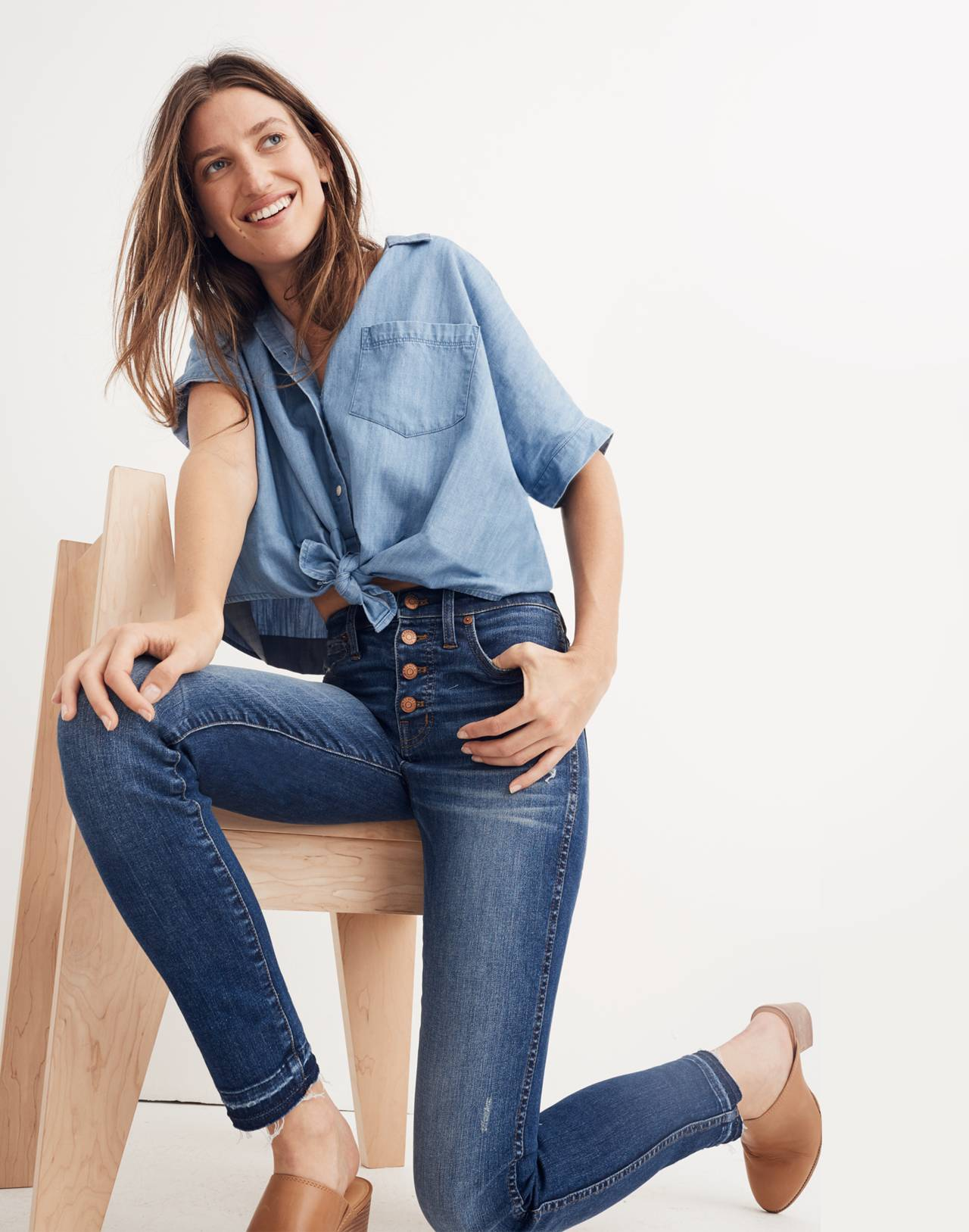 """Petite 10"""" High-Rise Skinny Jeans: Drop-Hem Edition in rosecliff wash image 1"""