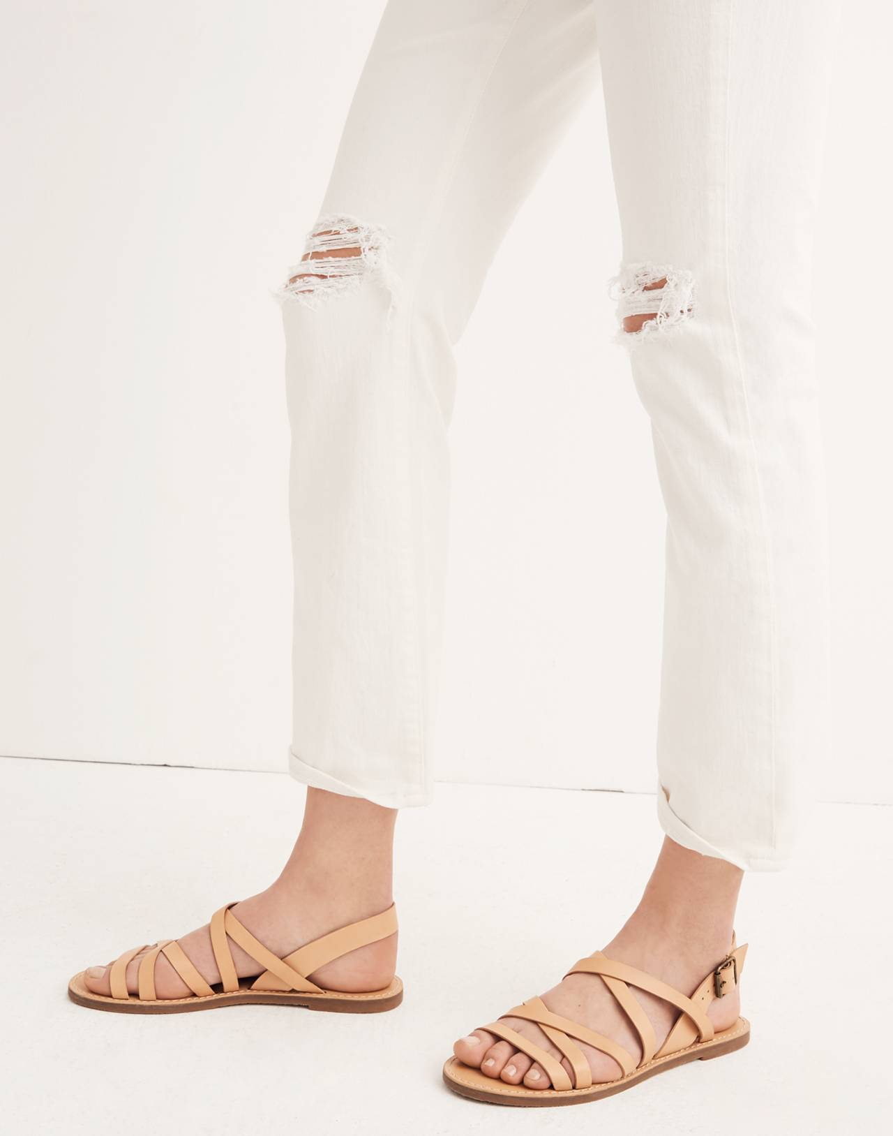 The Tall High-Rise Slim Boyjean in Tile White in tile white image 2