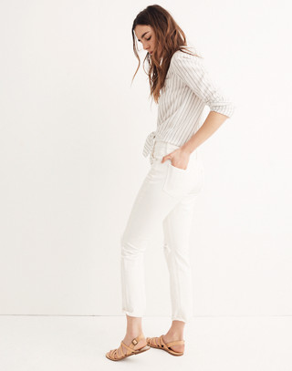 The High-Rise Slim Boyjean in Tile White