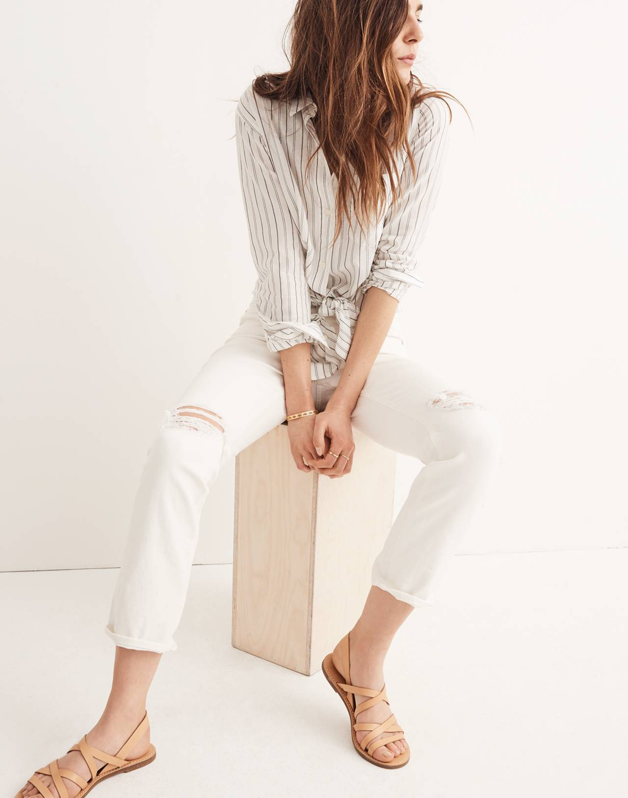 The Tall High-Rise Slim Boyjean in Tile White in tile white image 1