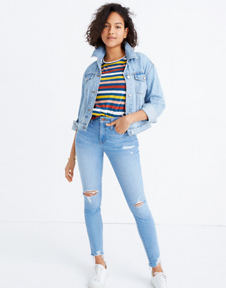 Taller Curvy High-Rise Skinny Jeans in Ontario: Distressed-Hem Edition in ontario wash image 2