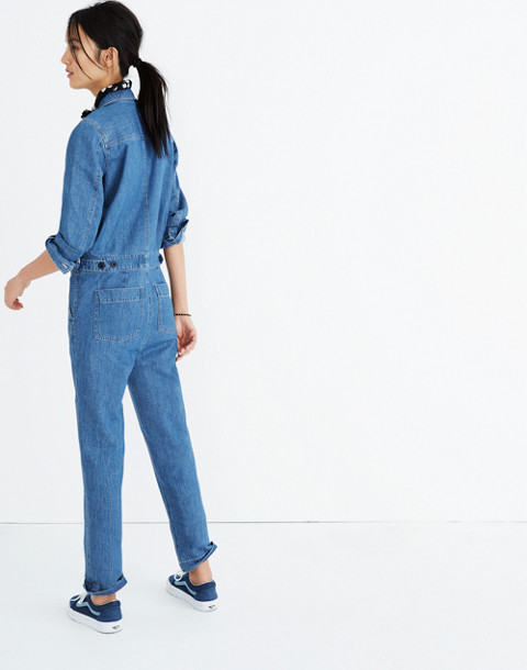 Denim Coverall Jumpsuit in phair wash image 3