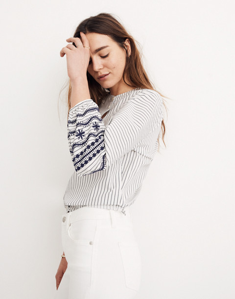 Striped Embroidered-Sleeve Shirt
