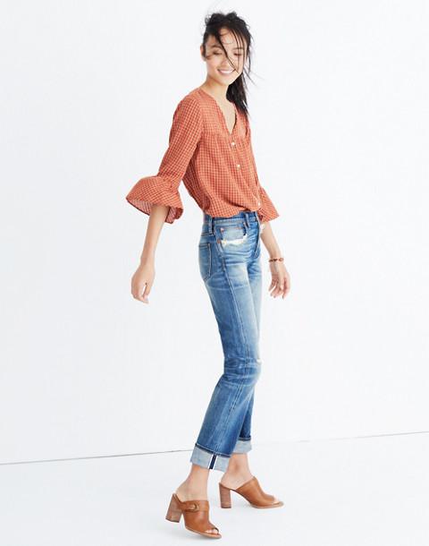 Veranda Bell-Sleeve Shirt in Windowpane
