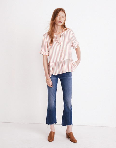 Studio Ruffle-Hem Top in Cecilia Stripe