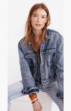The Boxy Crop Jean Jacket in Woodcourt Wash