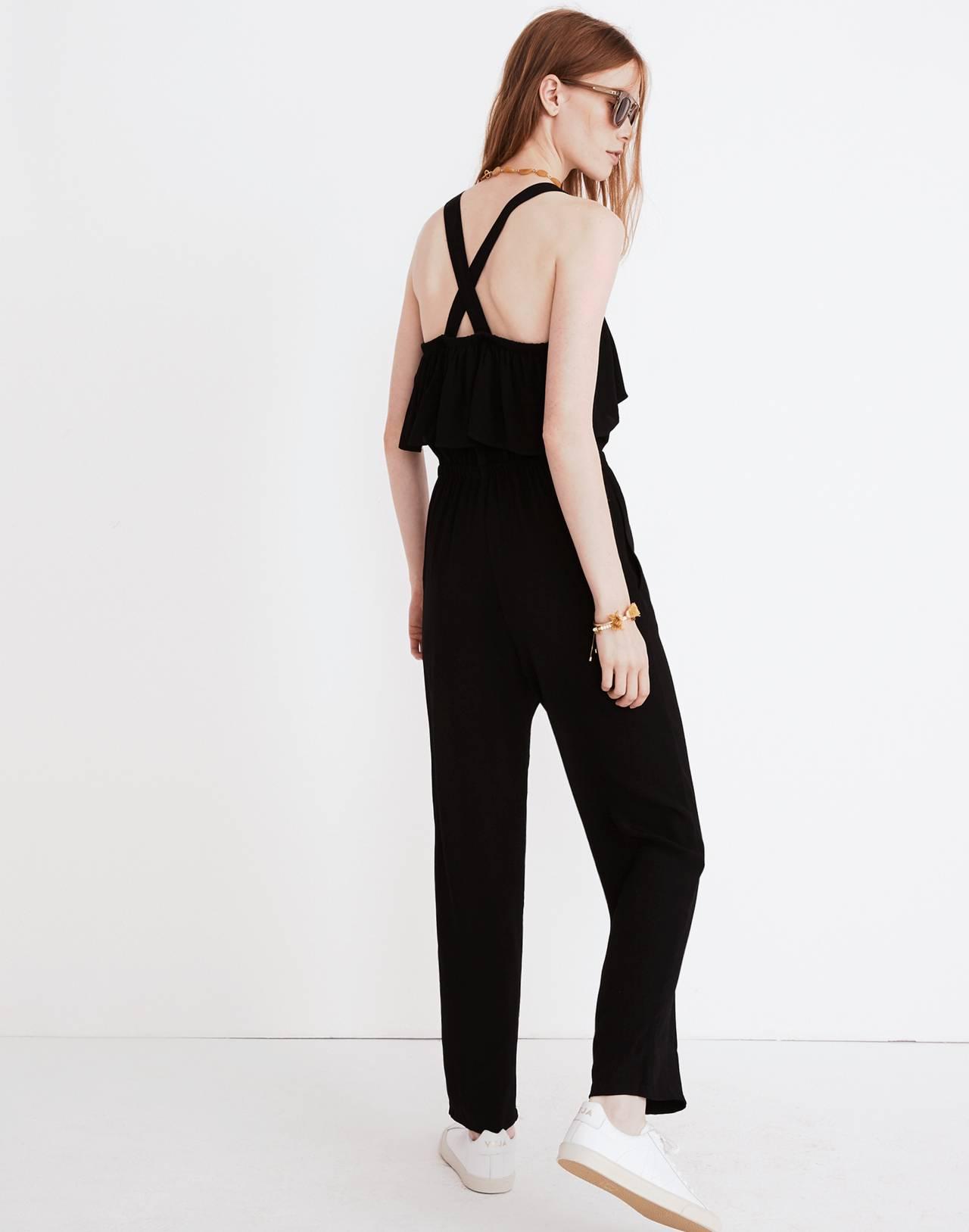 Apron Ruffle Jumpsuit in true black image 2