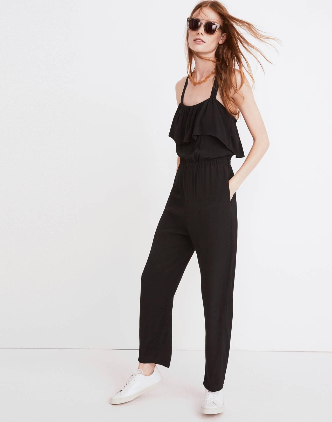 Apron Ruffle Jumpsuit in true black image 3