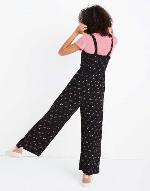 Smocked Crop Jumpsuit in Flower Toss in vine true black image 2