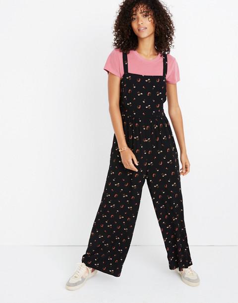 Smocked Crop Jumpsuit in Flower Toss in vine true black image 3