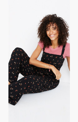 Smocked Crop Jumpsuit in Flower Toss