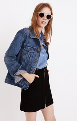 Denim Utility Zip Skirt in Black Frost