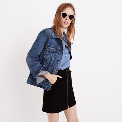 Denim Utility Zip Skirt in Black Frost