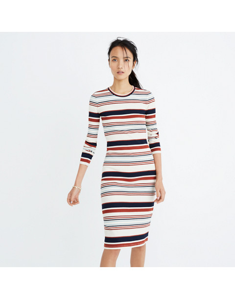 Ribbed Long-Sleeve Midi Dress in Multistripe